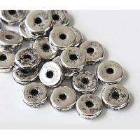 8mm Round Heishi Disk Metalized Ceramic Beads, Antique Silver