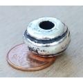 14x10mm Ridged Donut Metalized Ceramic Bead, Antique Silver, 1 Piece