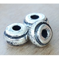 14x10mm Ridged Donut Metalized Ceramic Bead, Antique Silver
