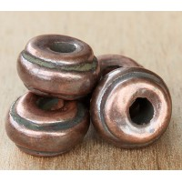 14x10mm Ridged Donut Metalized Ceramic Bead, Bronze Plated