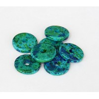 13mm Round Disk Matte Ceramic Beads, Blue Green Mix