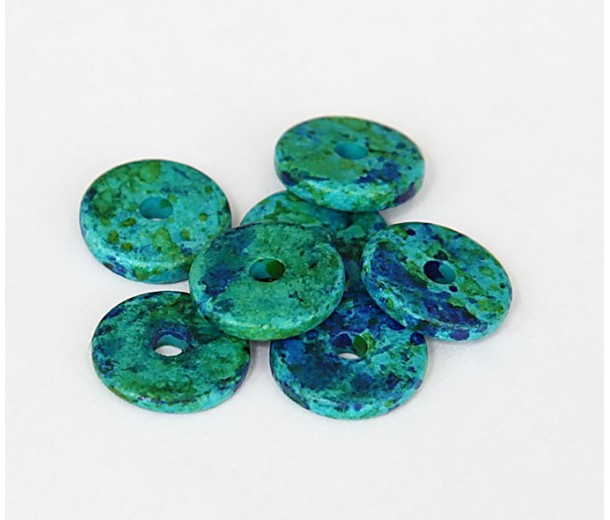 13mm Round Disk Matte Ceramic Beads, Blue Green Mix
