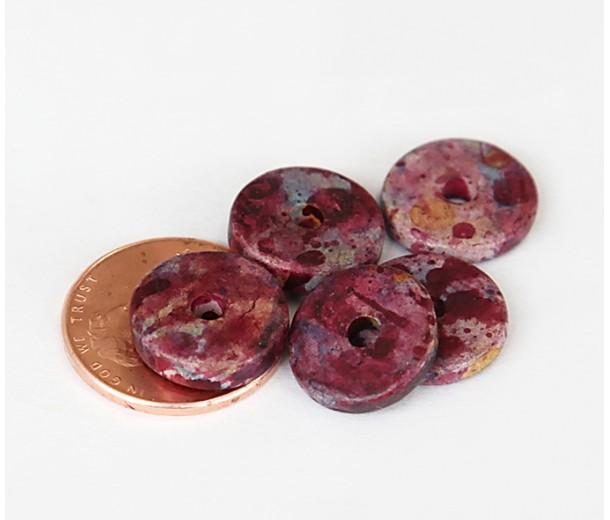 13mm Round Disk Matte Ceramic Beads, Fancy Purple Mix