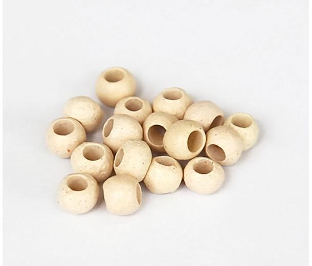 4mm Round Matte Ceramic Beads, Ecru, Pack of 10