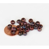 4mm Round Matte Ceramic Beads, Fancy Purple Mix