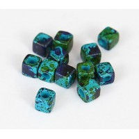 5mm Cube Matte Ceramic Beads, Blue Green Mix, Pack of 10