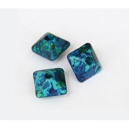 10mm Pillow Matte Ceramic Beads, Blue Green Mix
