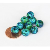 8mm Round Matte Ceramic Beads, Blue Green Mix