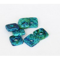 8mm Square Heishi Disk Matte Ceramic Beads, Blue Green Mix, Pack of 20