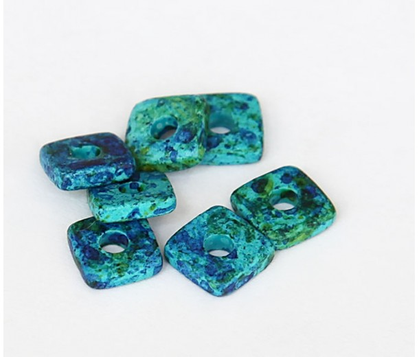 8mm Square Heishi Disk Matte Ceramic Beads, Blue Green Mix