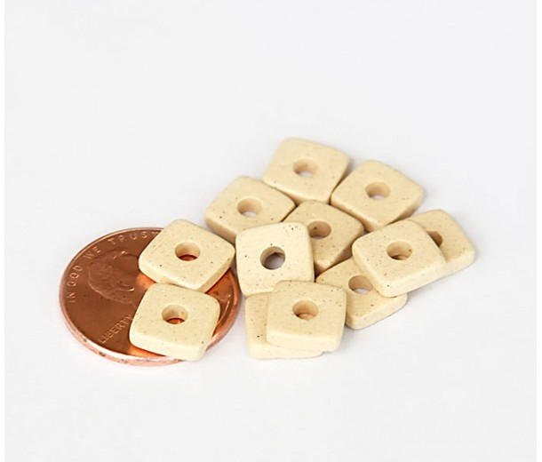 8mm Square Heishi Disk Matte Ceramic Beads, Ecru