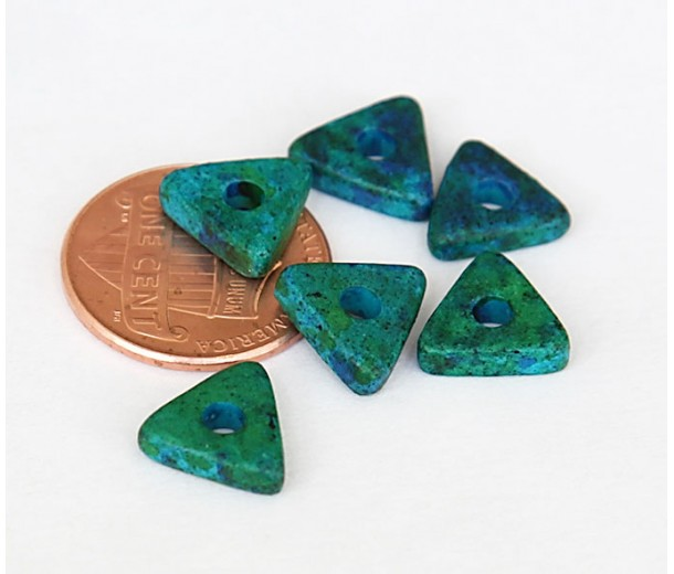 10mm Triangular Heishi Disk Ceramic Beads, Blue Green Mix, Pack of 20