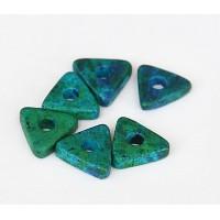 10mm Triangular Heishi Disk Matte Ceramic Beads, Blue Green Mix