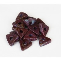 10mm Triangular Heishi Disk Ceramic Beads, Fancy Purple Mix, Pack of 20