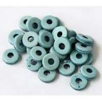 8mm Round Heishi Disk Matte Ceramic Beads, Denim