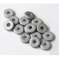 8mm Round Heishi Disk Matte Ceramic Beads, Silver Metallic