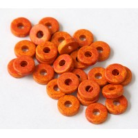 8mm Round Heishi Disk Matte Ceramic Beads, Orange Speckle, Pack of 20