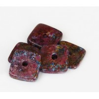 12mm Square Disk Matte Ceramic Beads, Fancy Purple Mix, Pack of 3