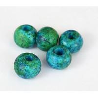 12mm Round Matte Ceramic Beads, Blue Green Mix