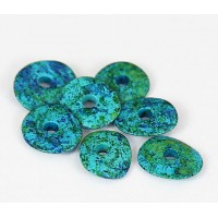 18x4mm Cornflake Matte Ceramic Beads, Blue Green Mix, Pack of 6