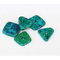 14mm Big Chip Matte Ceramic Beads, Blue Green Mix, Pack of 5