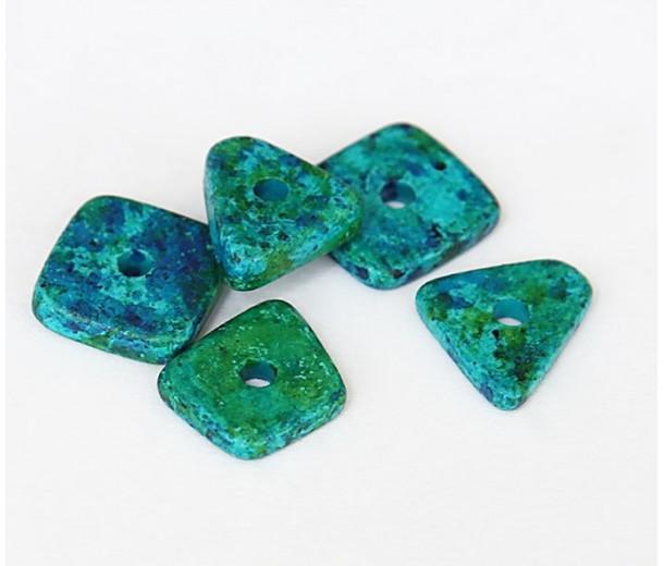 14mm Big Chip Matte Ceramic Beads, Blue Green Mix