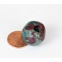 15mm Round Matte Ceramic Bead, Teal Khaki Mix, 1 Piece