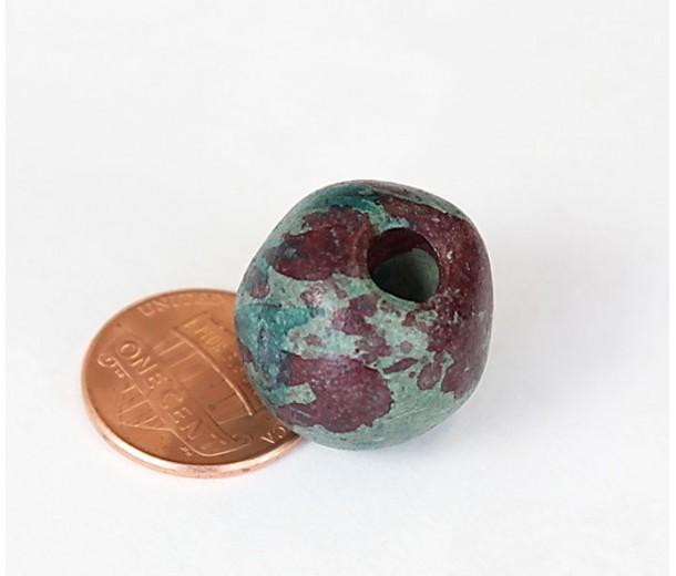 15mm Round Matte Ceramic Beads, Teal Khaki Mix