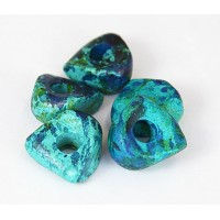 16x6mm Nugget Matte Ceramic Beads, Blue Green Mix