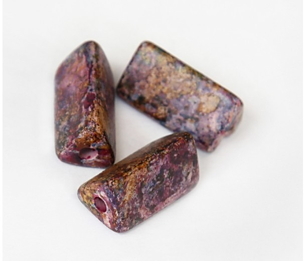 20x10mm Triangle Tube Matte Ceramic Beads, Fancy Purple Mix, Pack of 2
