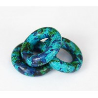 24mm Ring Matte Ceramic Bead, Blue Green Mix, 1 Piece