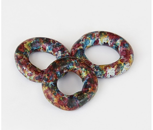 24mm Ring Matte Ceramic Bead, Fancy Purple Mix, 1 Piece