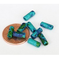 8x4mm Small Tube Matte Ceramic Beads, Blue Green Mix, Pack of 20