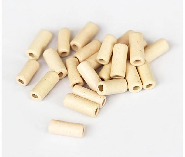 8x4mm Small Tube Matte Ceramic Beads, Ecru, Pack of 20