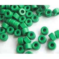6x4mm Mini Barrel Matte Ceramic Beads, Bright Green