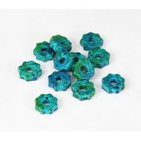 8mm Gear Matte Ceramic Beads, Blue Green Mix, Pack of 20
