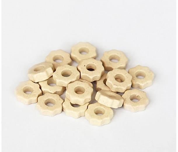 8mm Gear Matte Ceramic Beads, Ecru, Pack of 20