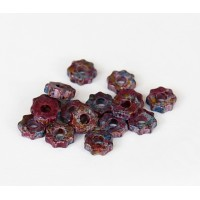 8mm Gear Matte Ceramic Beads, Fancy Purple Mix