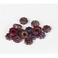 8mm Gear Matte Ceramic Beads, Fancy Purple Mix