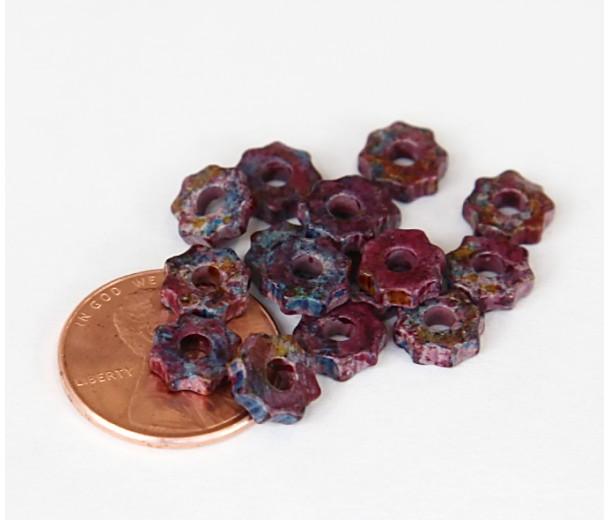 8mm Gear Matte Ceramic Beads, Fancy Purple Mix, Pack of 20