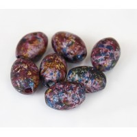15x7mm Oval Matte Ceramic Beads, Fancy Purple Mix, Pack of 5