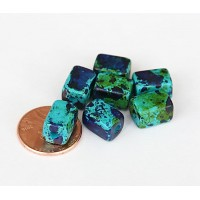 10x8mm Brick Matte Ceramic Beads, Blue Green Mix, Pack of 10