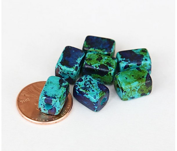10x8mm Brick Matte Ceramic Beads, Blue Green Mix