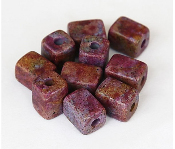 10x8mm Brick Matte Ceramic Beads, Fancy Purple Mix