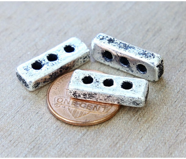 18x6mm 3-Hole Spacer Bar Metalized Ceramic Bead, Antique Silver, 1 Piece