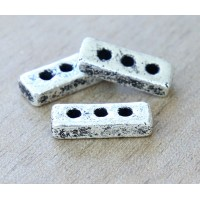 18x6mm 3-Hole Spacer Bar Metalized Ceramic Bead, Antique Silver