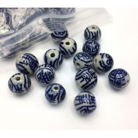 10mm Round Ceramic Beads, Blue on Beige, Pack of 10