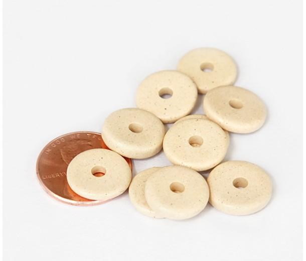 13mm Round Disk Matte Ceramic Beads, Ecru
