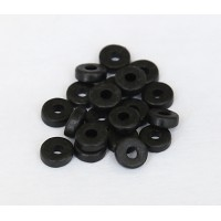 6mm Round Heishi Disk Matte Ceramic Beads, Black, 5 Gram Bag
