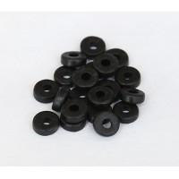 6mm Round Heishi Disk Matte Ceramic Beads, Black, 5 Gram Bag